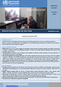 October report on referral of patients from the Gaza Strip