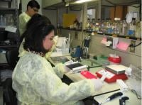 Scientists at work in a public health laboratory