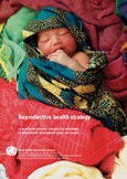 Cover of reproductive health strategy publication showing a sleeping baby