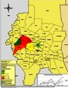 Map of yellow fever affected areas in Darfur.