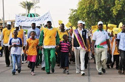 Hundreds of young and old joined the march along Nile avenue which was led by WHO Representative Dr Anshu Banerjee and Federal Minister of Health Bahar Iddris Abu Garda.