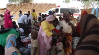 People being vaccinated during the vaccination campaign in Jebel Amir, South Sudan