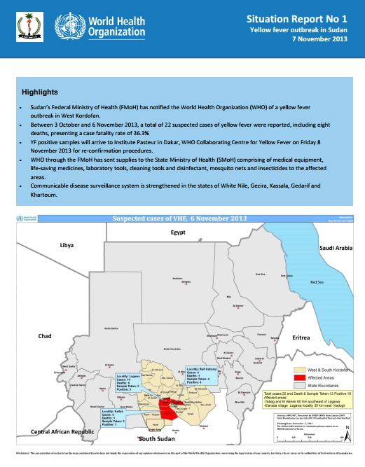 Sudan yellow fever situation report.Issue 1