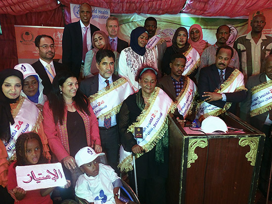 1.	WHO Regional Director Dr.  Ahmed Al Mandhary (3rd left) attending Sudan FMOH celebration on the World Polio Week, Khartoum on 24 Oct 2019. WHO Sudan