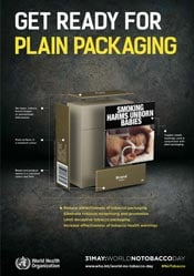 Image shows a plain tobacco package, and the elements that make up such a package.