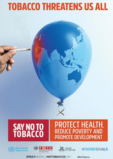 Image shows a poster of a balloon with a map of the Eastern Mediterranean Region, and a hand holding a cigarette aimed at the balloon thus posing a threat to health and development.