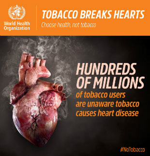 World No Tobacco Day 2018 infographic - Heart disease: Hundreds of millions of tobacco users are unaware tobacco causes heart disease