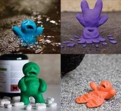 Four pictures of Plasticine men depicting possible forms of injury such as drowning, falls, poisoning and road traffic injuries