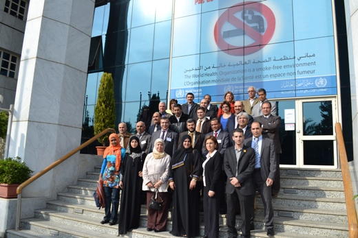 Participants of the meeting on the second global status report on road safety standing on the steps of the WHO Regional Office for the Eastern Mediterranean