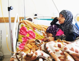 Abrar 11 cares for her younger sister living with colon cancer in the National Oncology Centre in Sanaa. Around 47000 cancer patients are in dire need