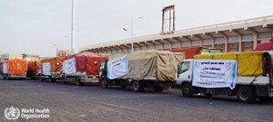 Convoy of trucks delivering medical supplies to Aden