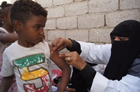 Children in slum areas have been pushed by their parents to get vaccinated. Health educators intensify their efforts to raise awareness in these targeted places where there thousands of refugees and marginalized groups.