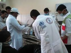 Medical teams receive injured people in Haradh district of Hajja  governorate