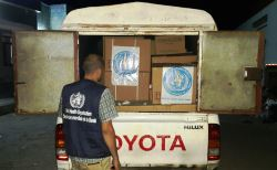 WHO staff delivers medical supplies to Al Thawra hospital and Bajel renal dialysis centre in Hodeida governorate